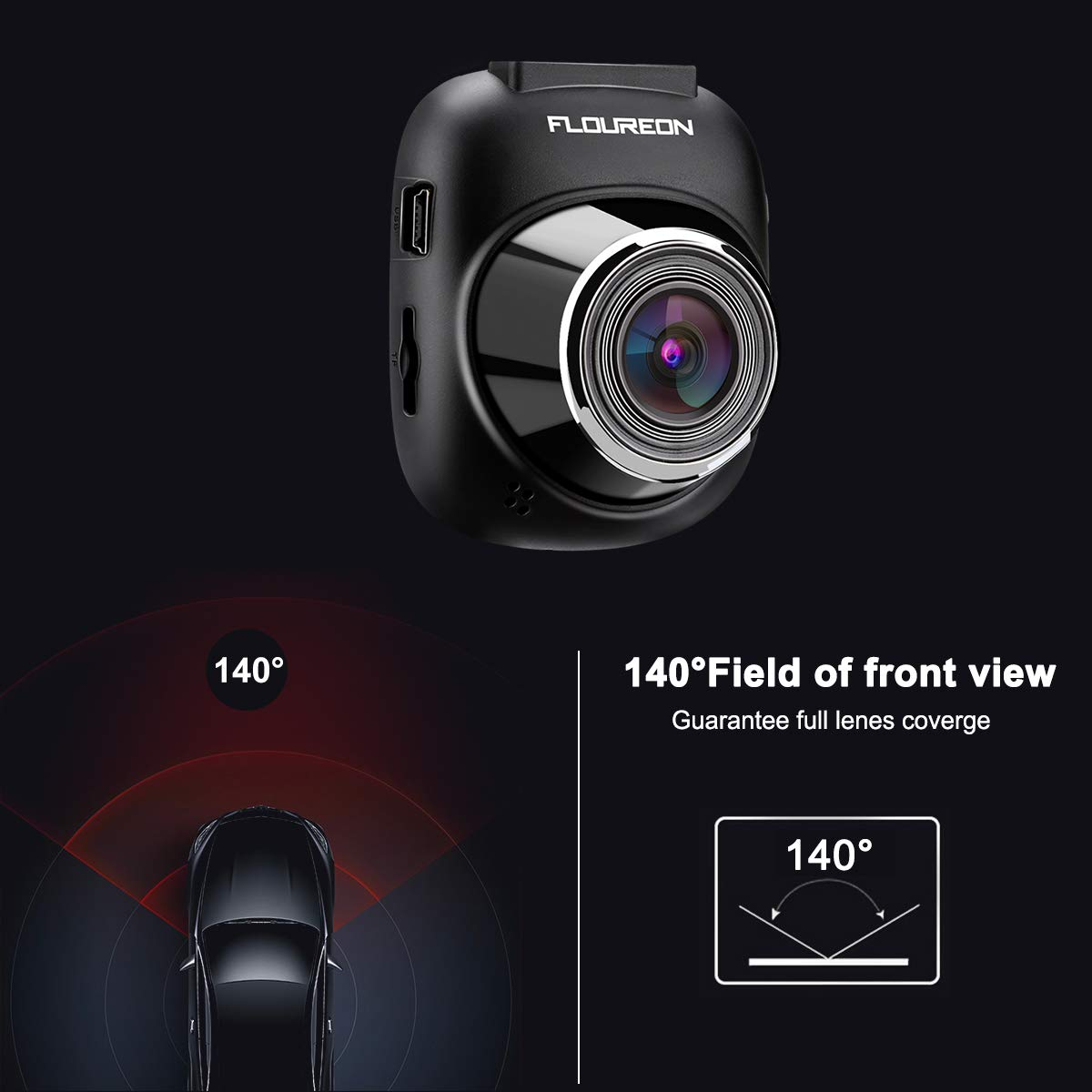 Dash Cam FLOUREON HD 1080P Car Camera Video Recorder with 140 Wide Angle G-sensor Loop Recording Motion Detection and Parking Monitoring (1.5 Inch)