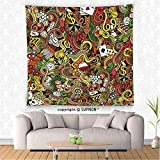 VROSELV custom tapestry Casino Decorations Tapestry Wall Hanging Doodles Style Art Bingo Excitement Checkers King Tambourine Vegas Bedroom Living Room Dorm Decor