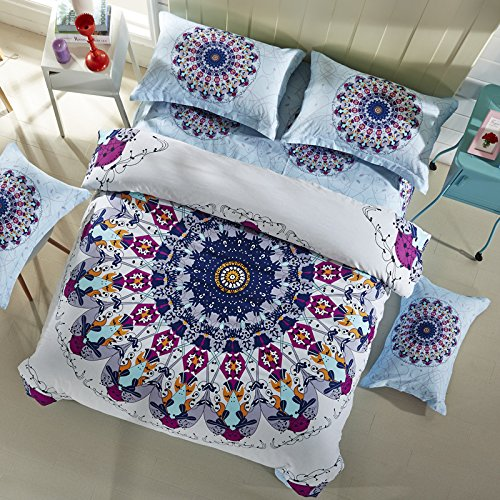LELVA Bohemian Bedding Set Boho Style Bedding Duvet Cover Set Cotton Mandala Bedding Flat / Fitted Sheet Set 4pc (Queen - Fitted Sheet, 2)