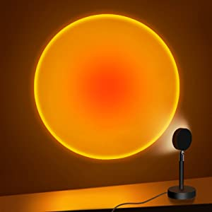 Sunset Projection Lamp, 180 Degree Rotation Rainbow Projection Lamp Led Light, Romantic Visual HD Crystal Lens Sunset Night Light Projector for Party Bedroom Decor (Sunset Red)