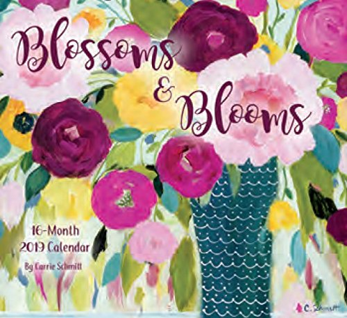 - 16 Month Premium Wall Calendar 2019 - Blossoms & Blooms - Each Month Displays Full-Color Illustration. Printed on Linen Embossed Heavyweight Paper Stock