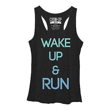 CHIN UP Wake Up and Run Womens Graphic Racerback Tank