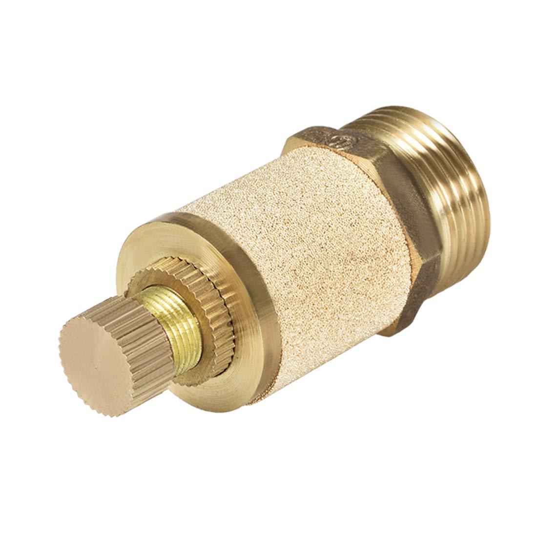 uxcell Sintered Bronze Exhaust Muffler,Top Adjustable,G1//8 Brass Body,Pneumatic Air Muffler,Air Flow Speed Controller,Flow Control Muffler
