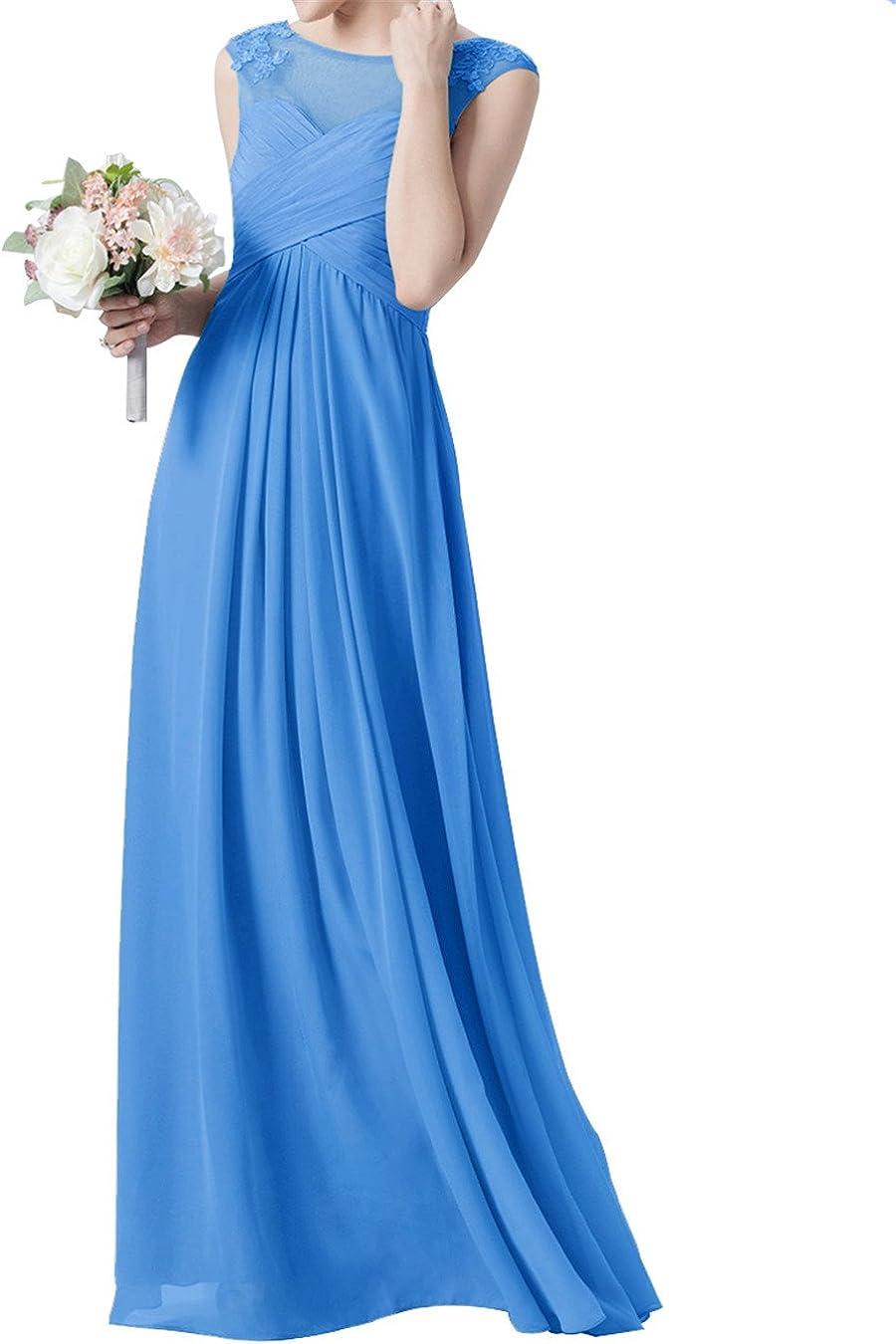 Applique Bridesmaid Dresses for Women Chiffon Scoop Neck Modest Evening Party Gown