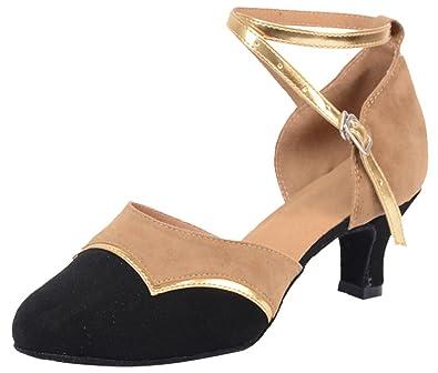 Abby Womens Latin Tango Cha-Cha Salsa Party Modern Kitten Heel Round-Toe PU Dance-Shoes