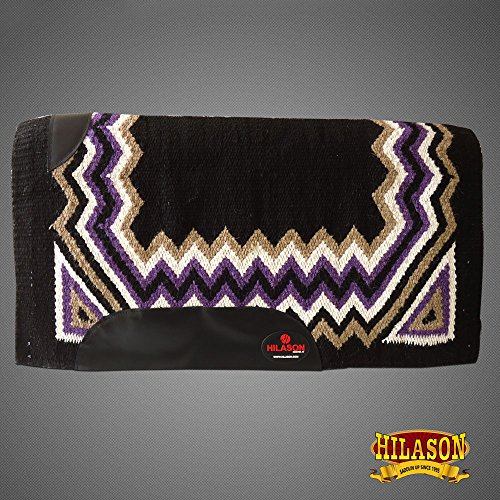 HILASON Western New Zealand Wool Horse Saddle Blanket Black Purple White