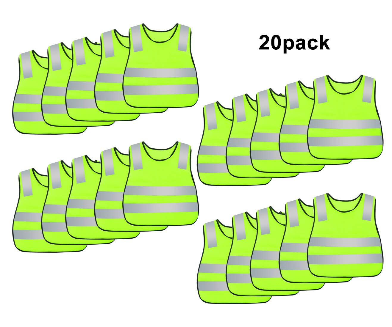 AIEOE 20 Pack Kid's Reflective Safety Vest High Visibility for Costume Cycling (Yellow-20pack)