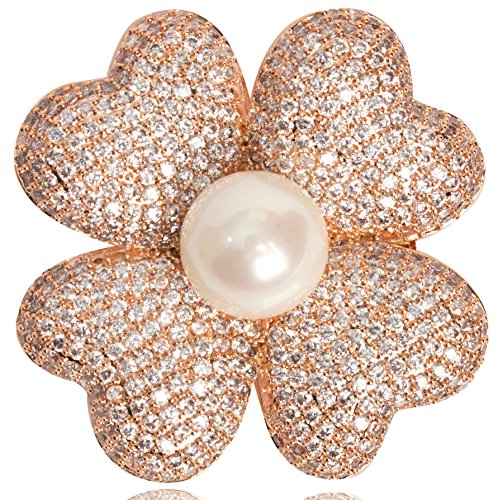 Fashion Jewelry MISASHA Designer Four Petals Flower Brooch Pin For Women (Gold)