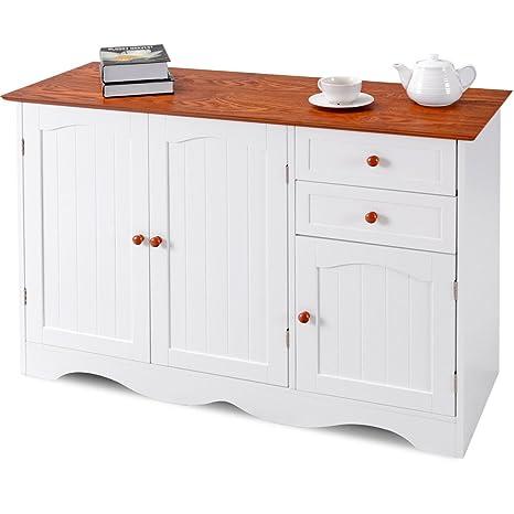 Amazon.com: Armario de almacenamiento con 2 cajones, mesa de ...