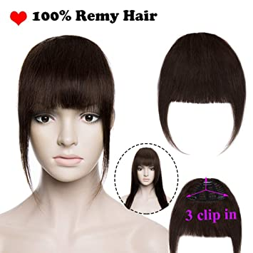 Human Hair Clip in Fringe Bangs Invisible Front Hair Extensions Straight  One Piece Hair Extension 100 e7b335b50f