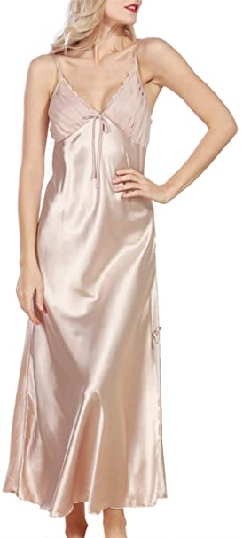 93b9bab727 Uhnice Womens Silky Satin Nightgown Full Length Slip Nightdress V Neck  Nightwear (Medium