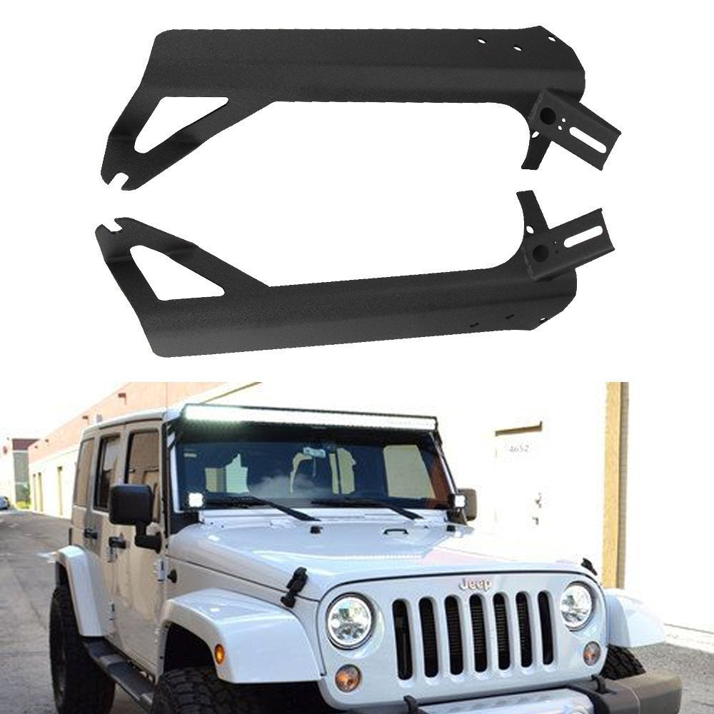 Upper Roof Windshield Mounting Brackets With Lower Corner A-pillar Hinge Mount Brackets For 50Inch LED Work Light Bar And 4In Spot Flood Pods Cube Fog Lights Fit 1999-2006 Jeep TJ Wrangler Sport X QUAKEWORLD