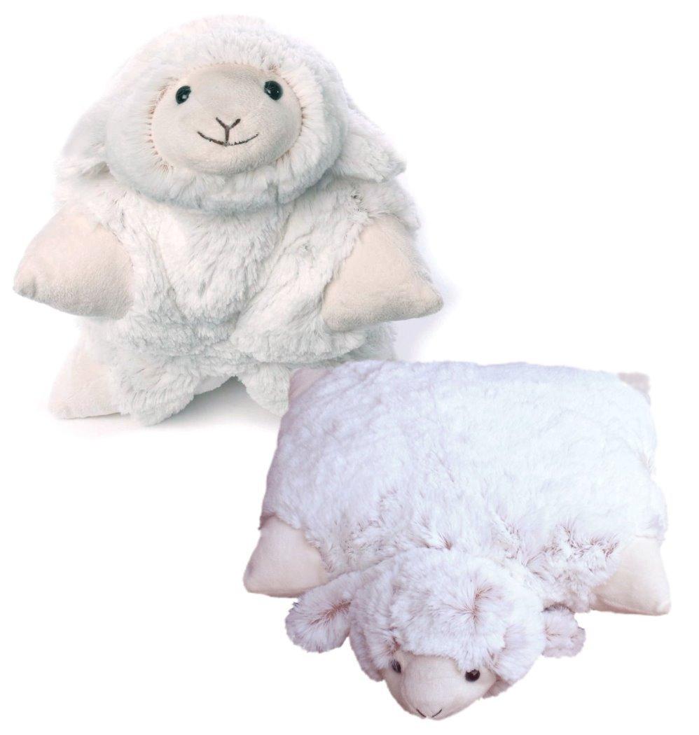 Inware 5960 - 2in1 Peluche et Oreiller Câ lin Mouton, crè me/moucheté , 35 x 25 cm, avec velcro crème/moucheté Animaux