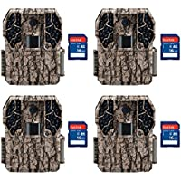 Stealth Cam Z36 No Glo 80 10MP Video LCD Trail Game Camera, 4 Pack + SD Cards
