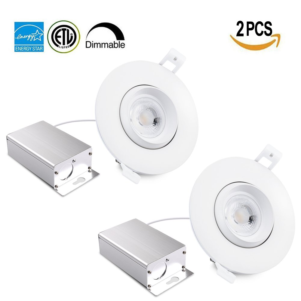 Drart 4 inches LED Gimbal Recessed Downlight Dimmable 12W Lighting Fixture Retrofit, 100W Equivalent 5000K with IC Rated Junction box
