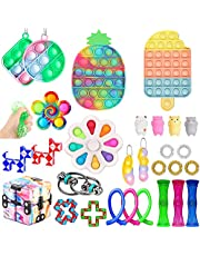 Fidget Toys Pack, Pop Bubble Cheap Sensory Fidget Pack Stress Relief Toys with Marble Mesh Pop Anxiety Tube for Kids Adult