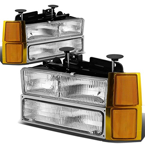 (For 94-98 Chevy C10 C/K-Series OE Style Chrome Housing Headlight+Bumper Lamps+Amber Corner Lights)