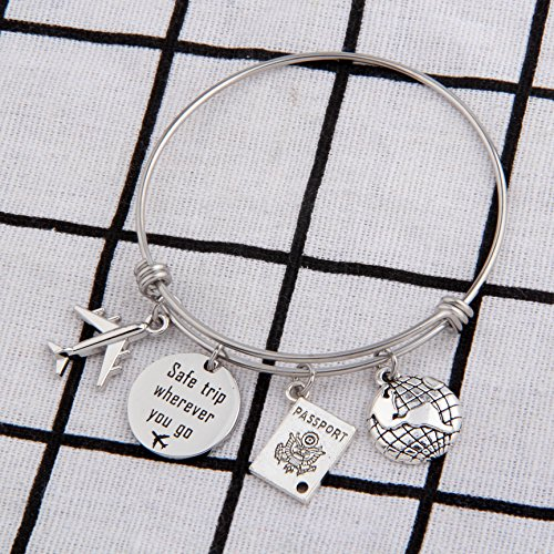 CHOROY Safe Travels Bracelet Airplane Bracelet Safe Trip Wherever You Go Charm Bangle Aviation Jewelry Gift For Pilot/Flight Attendant (Safe trip bangle) by CHOROY (Image #1)