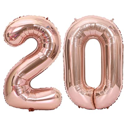 Tellpet Rose Gold Number 20 Balloon, 40 Inch: Toys & Games