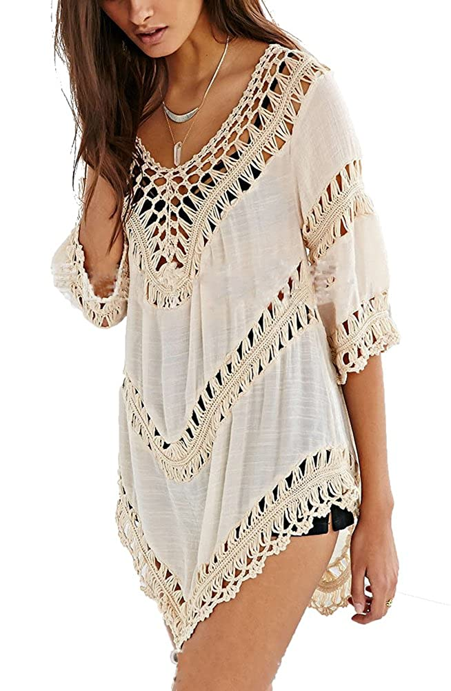 iNewbetter Womens Beach Cover up Shirt Blouse Tops Beach-08
