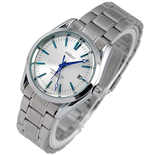 VIGOROSO FINEAT Mens Automatic Self Winding Mechanical Stainless Day Blue Analog Watch: Amazon.es: Relojes