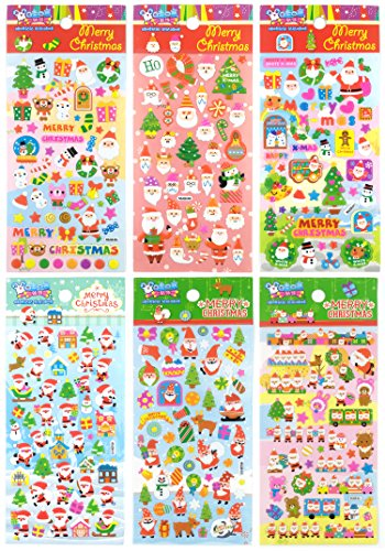 3D-SANTA-MERRY - 6 Sheets Merry Christmas 3d Stickers For Kid - Puffy Dimensional Scrapbook Stickers - Size 3.5 x 6.75 ()