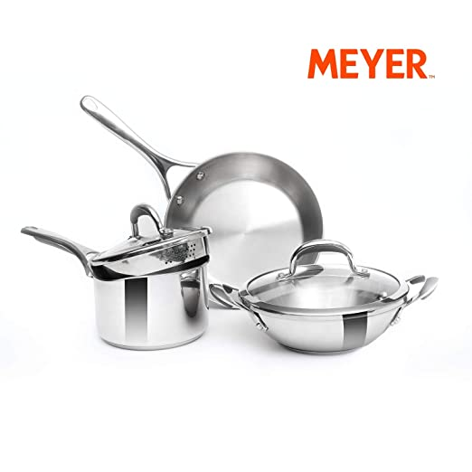 Meyer Select Stainless Steel 5-Piece Cookware Set (Gas and Induction Compatible) Pot & Pan Sets at amazon