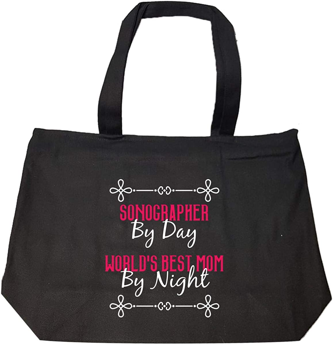 Sonographer By Day Worlds Best Mom By Night Tote Bag With Zip