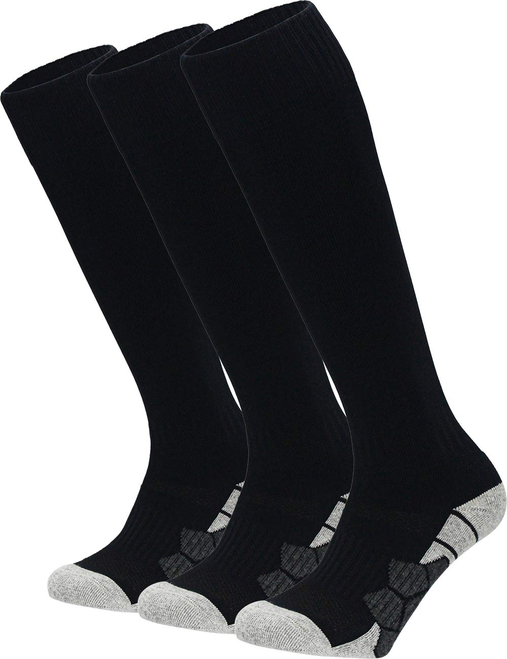 Youth Kids Adult Knee High Cotton Soccer Socks Boys Girls Parent-Child Outdoor Active Long Towel Bottom Socks, 3-Pair Black, Size M (Kids 7C-10C / Youth 5Y-7Y / W 6-10 / M 6-8) by APTESOL
