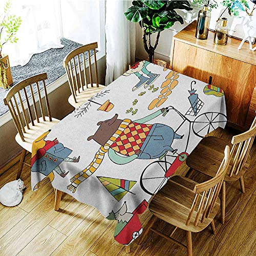 XXANS Spill-Proof Table Cover,Animal,Bear on Bicycle Fox in Raincoat and Bunny with a Teapot Urban Forest Characters,Party Decorations Table Cover Cloth,W54x90L Multicolor ()