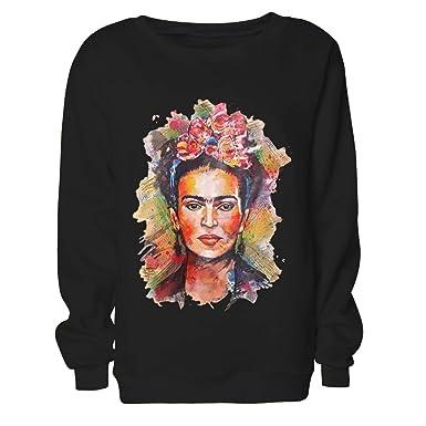 1d9803047 ZMLIA Womens Frida Kahlo Sweatshirt Crew Neck Long Sleeve Casual ...