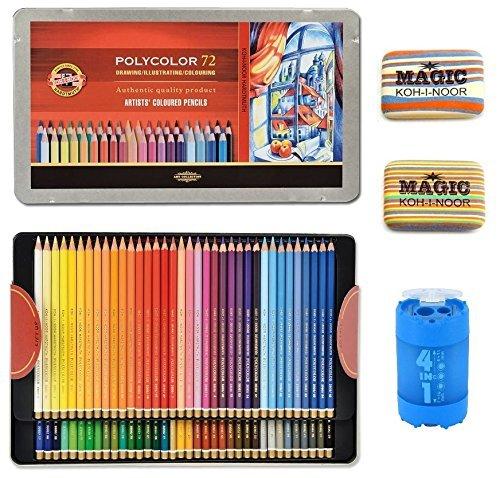 (KOH-I-NOOR Artist's Set of Polycolor 72 Coloured Pencils + 2xEraser + Sharpener 4 in1 )