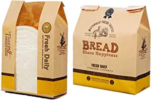 50pcs Food Kraft Bags with Label Seal Stickers, Toast Bakery Food Packaging Bag with Viewing Window,12.6
