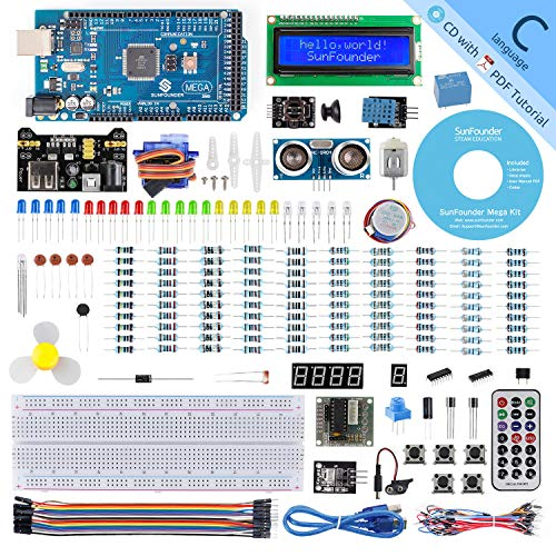 SunFounder Mega 2560 R3 Project Super Starter Kit with Mega 2560 Board Compatible with Arduino Mega 2560 UNO R3 Mega328 Nano,25 Tutorials Included - $38.99