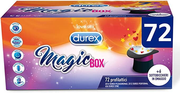 Durex Magic Box 3 variedades de preservativos Sync Performa y Pleasuremax con posavasos de regalo, 72 perfiles: Amazon.es: Salud y cuidado personal