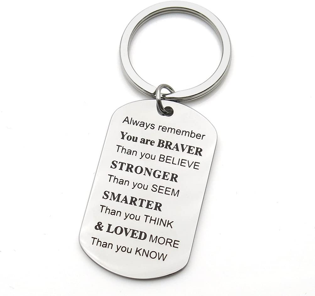Always Remember You are Braver Stronger Inspirational Friends Gifts Keychain