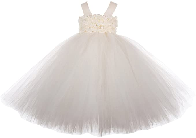 6e4426694 Baby Girls  Puffy Flower Girl Tutu Dresses 2 Rows 3D Rose Flowers ...