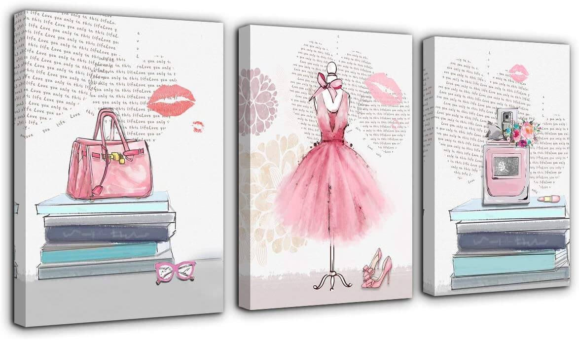 Canvas Wall Art for Girls Bedroom Pink Fashion Wall Decoration 3 Pieces Picture Artwork Framed Prints Ready to Hang for Bathroom Home Teen Girls Room Woman Room Modern Wall Decor 16