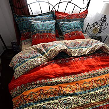 LELVA Boho Style Duvet Cover Set, Colorful Stripe Sheet Sets, Bohemia Bedding Set Baroque Style Bedding Set 4pcs Queen King Size (Fitted Sheet, Queen)