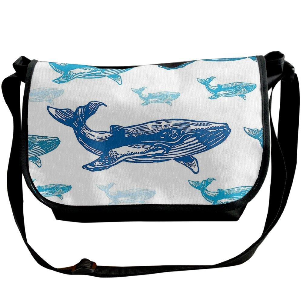 Kmeiqufan Colorful Realistic Engraved Style Of Whale Animals Dangerous Creature Unisex Wide Diagonal Shoulder Bag Adjustable Single Shoulder Backpack good
