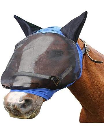 Ausomely Bonnet Cheval Bonnet Anti-Mouches Masque Anti-Mouches Cheval Protection naseaux Chevaux Anti-UV Oreilles et naseaux Noir