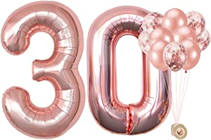 AULE 40 Inch Big Rose Gold Foil Mylar Number Balloons for Women 30th Birthday Party Decorations Giant Happy 30 Anniversary Party Decor