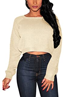 22432dbc9f8 PrettyGuide Women's Sweater Long Sleeve Eyelet Cable Lace Up Crop ...