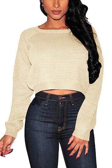 96eaaeb50b89e Pink Queen Women's Knit Long Sleeves Cropped Sweater Top