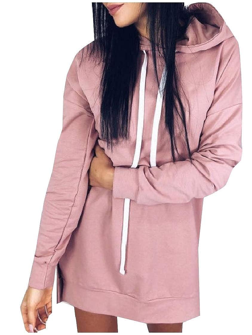 YUNY Womens Split Long-Sleeve Solid Colored Tunic Hoodie Sweatshirts Pink M