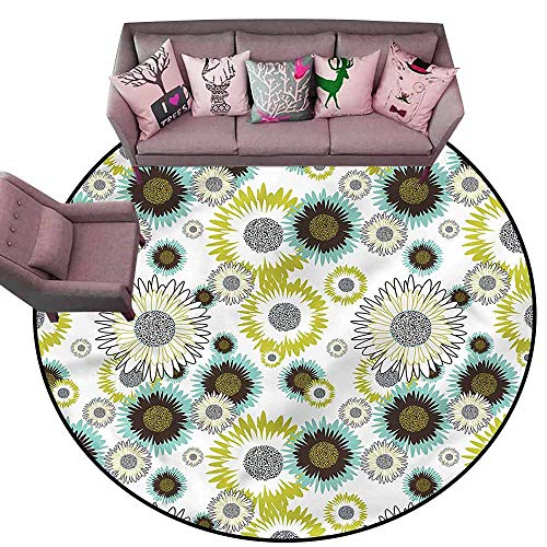 (Washable Kitchen Area Rug Flower,Summer Meadow Blossoms Diameter 60