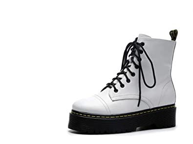 21cd3f436691 Real Leather dr Martens Boots Women lace up White DR Martens Boots  Platforms Fall Winter Shoes