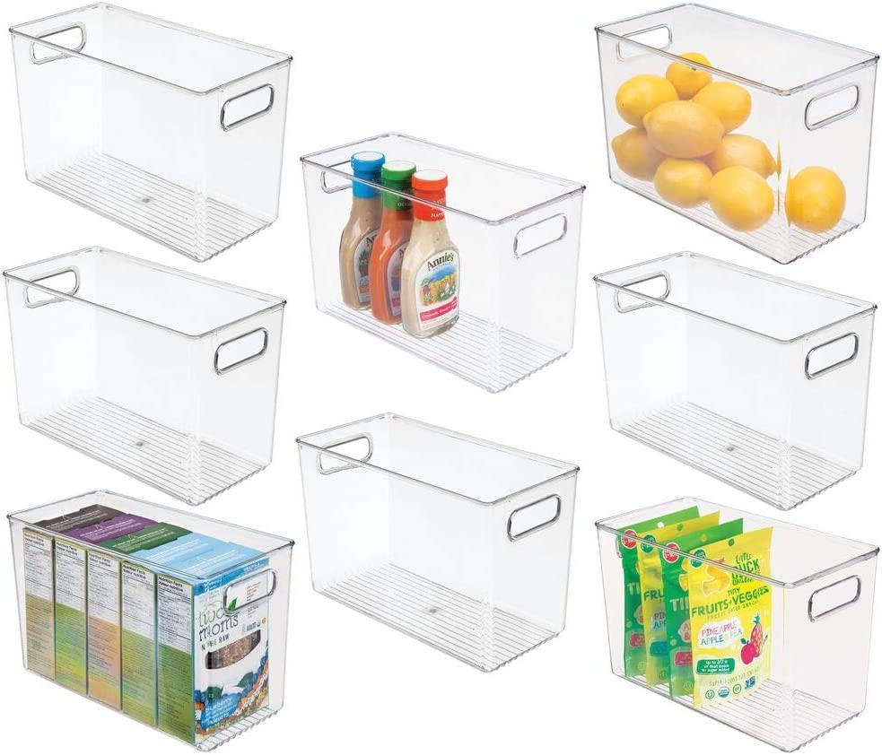 mDesign Plastic Food Storage Container Bin with Handles - for Kitchen, Pantry, Cabinet, Fridge/Freezer - Narrow for Snacks, Produce, Vegetables, Pasta - BPA Free, Food Safe - 8 Pack - Clear
