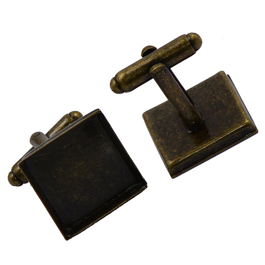 6pcs 16mm Square Cuff Links Blanks Base Pad Cufflinks Findings DIY Craft