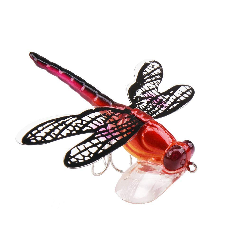 LUREHUNTER Fishing Topwater Lures Life-Like Dragonfly Floating Fly Fishing Popper Boat Lures for Trout Bass Perch Fishing